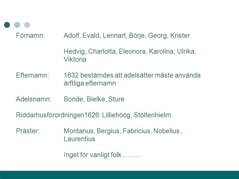 Förnamn: Adolf, Evald, Lennart, Börje, Georg, Krister
