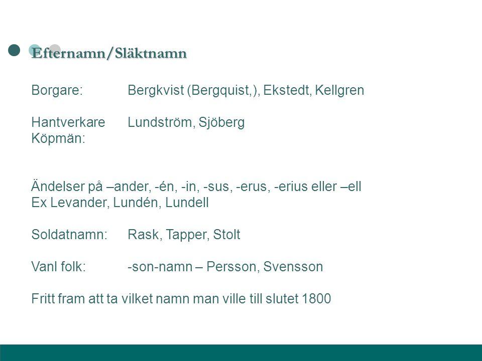 Efternamn/Släktnamn Borgare: Bergkvist (Bergquist,), Ekstedt, Kellgren