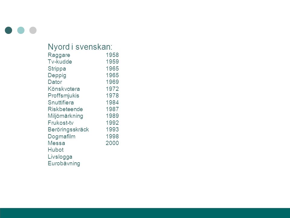 Nyord i svenskan: Raggare 1958 Tv-kudde 1959 Strippa 1965 Deppig 1965
