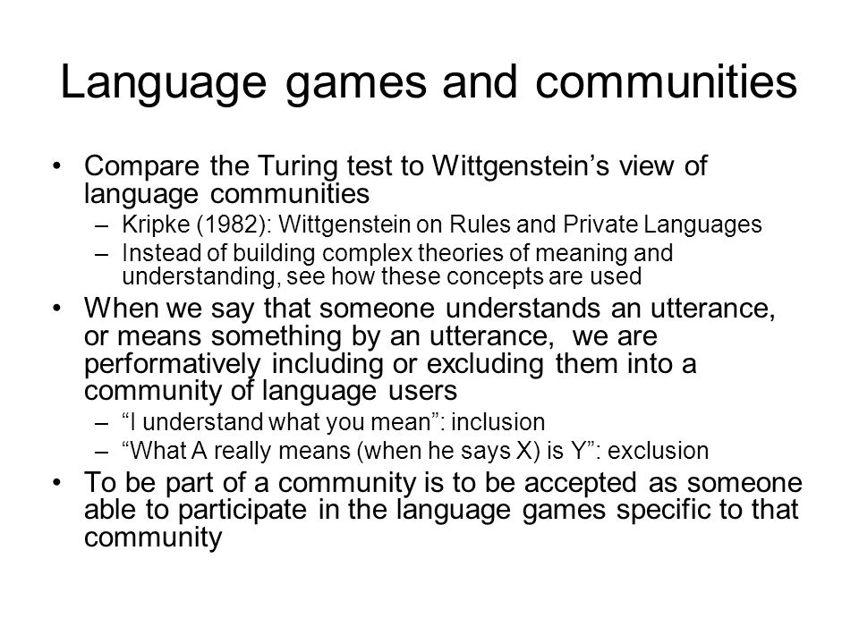 Language games and communities