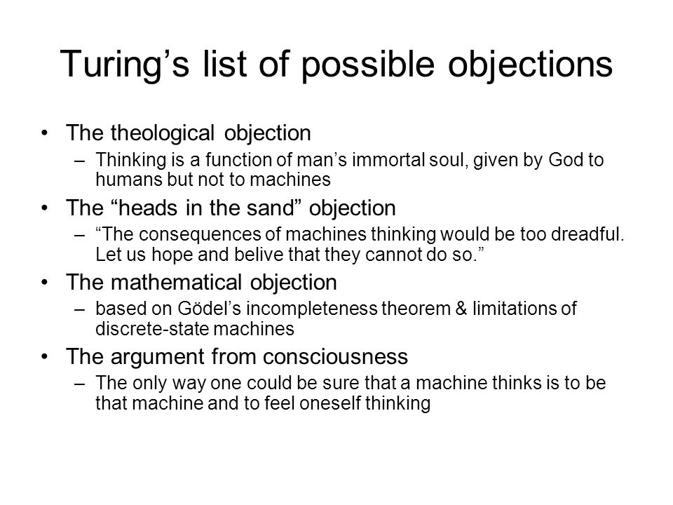 Turing's list of possible objections