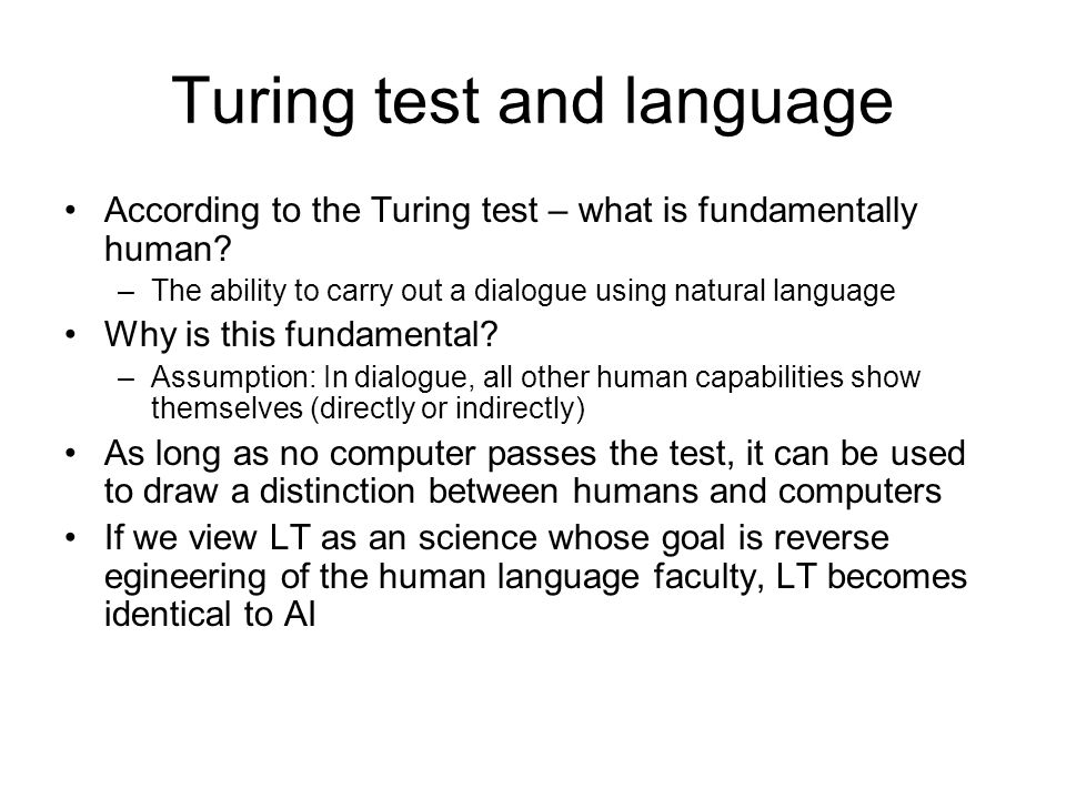 Turing test and language
