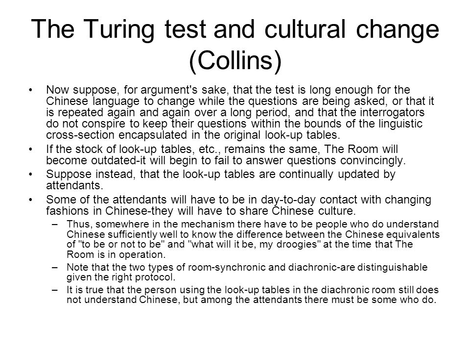 The Turing test and cultural change (Collins)
