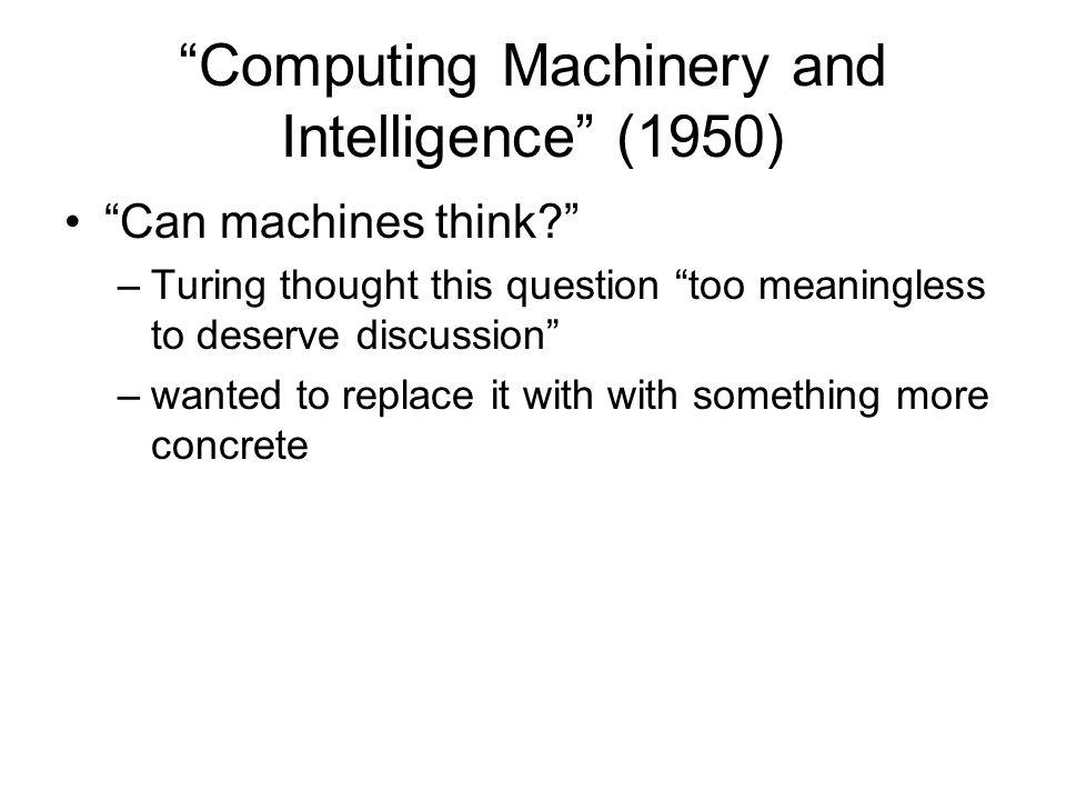 Computing Machinery and Intelligence (1950)