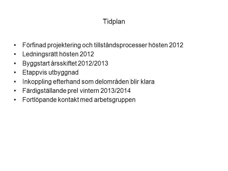 Tidplan Förfinad projektering och tillståndsprocesser hösten 2012