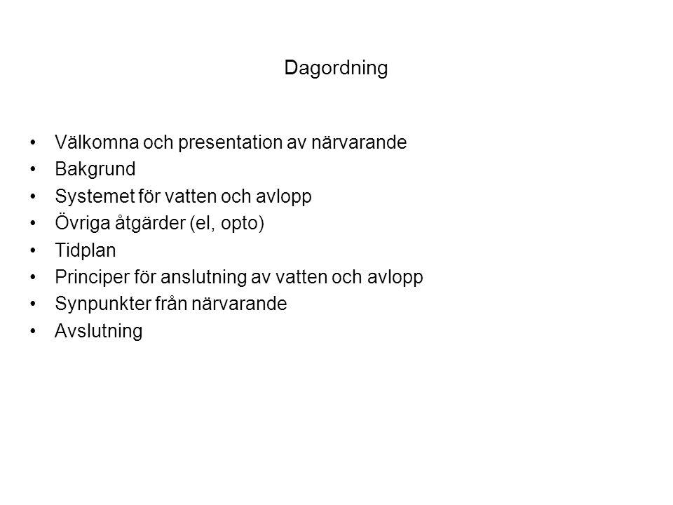Dagordning Välkomna och presentation av närvarande Bakgrund