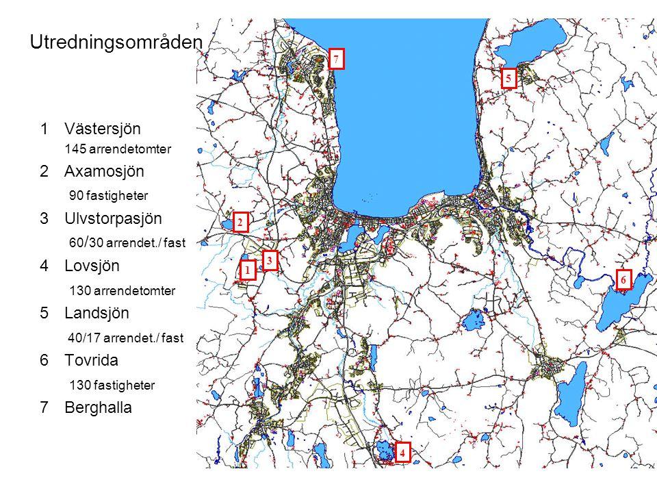 Utredningsområden Västersjön Axamosjön 90 fastigheter Ulvstorpasjön