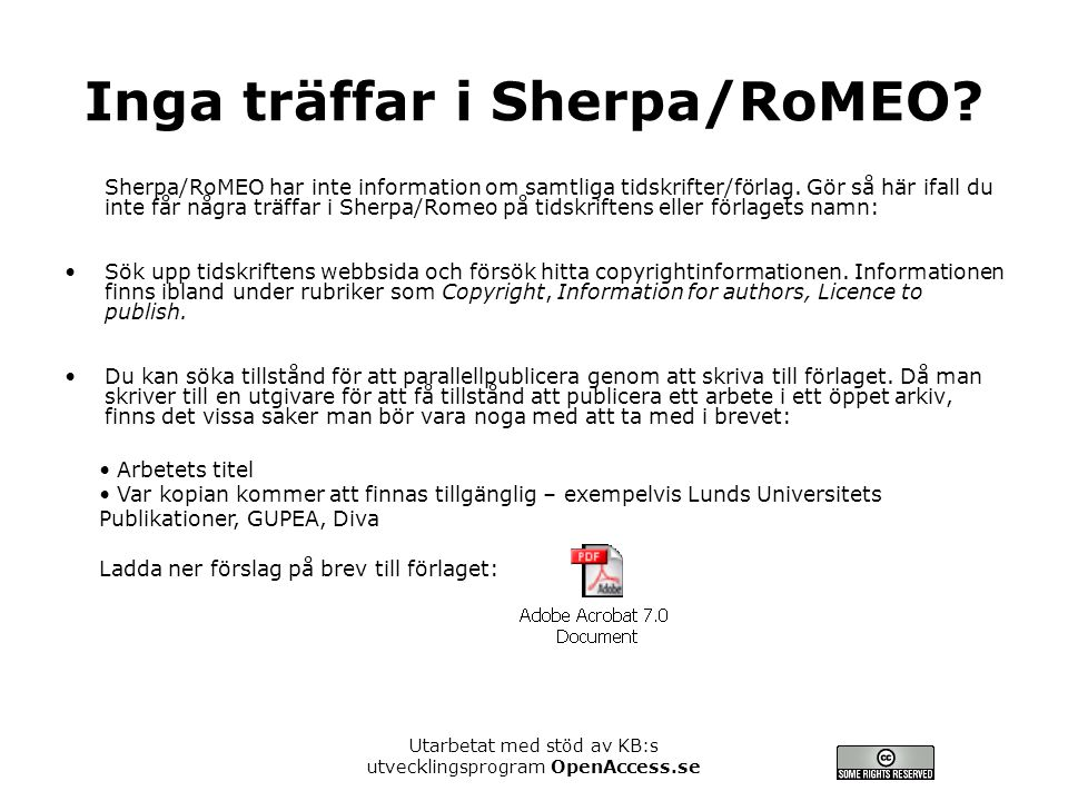 Inga träffar i Sherpa/RoMEO