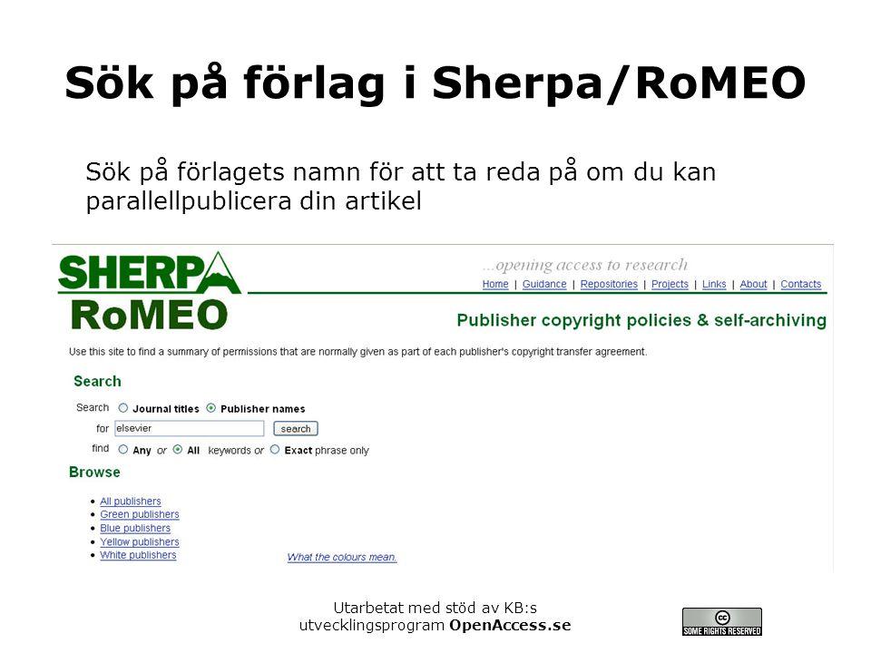 Sök på förlag i Sherpa/RoMEO