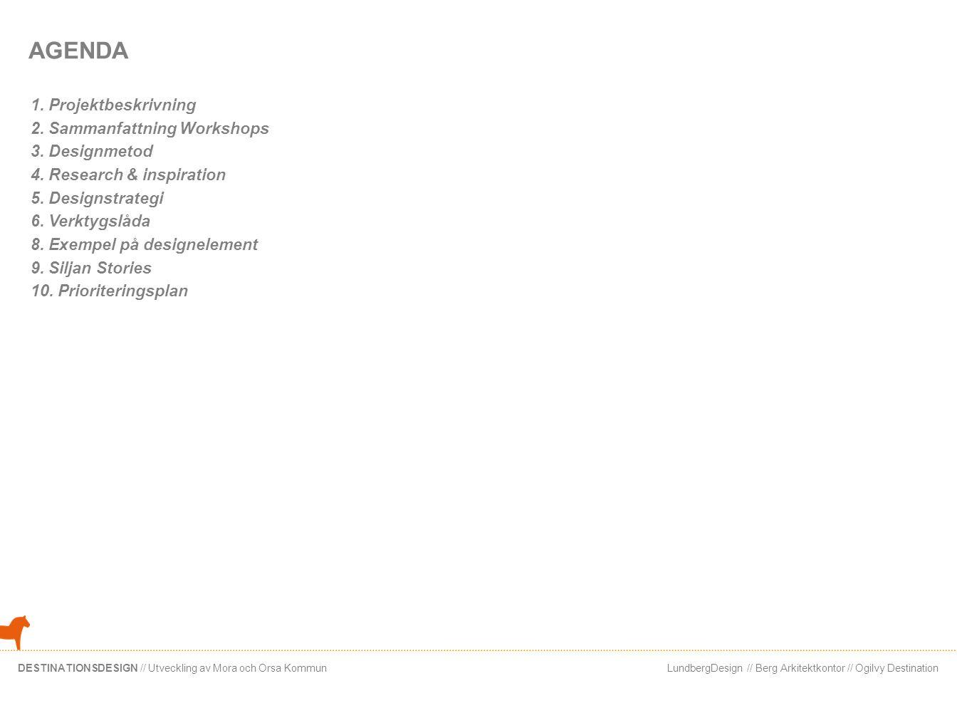 AGENDA 1. Projektbeskrivning 2. Sammanfattning Workshops