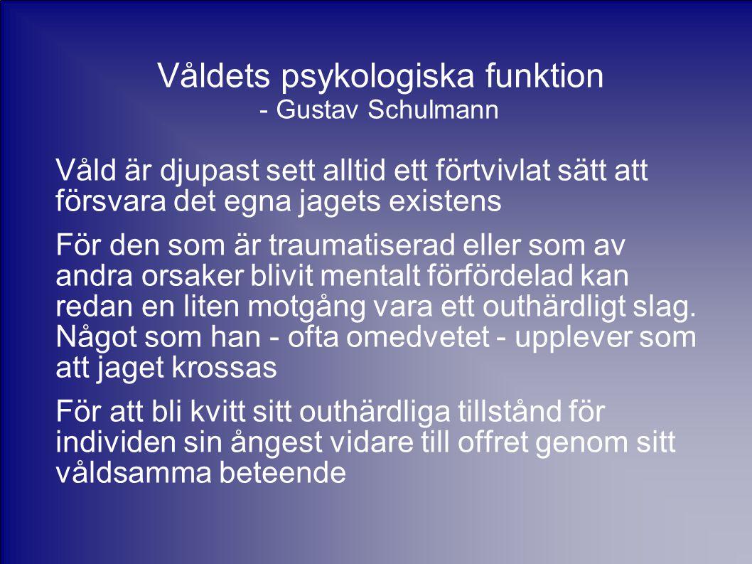 Våldets psykologiska funktion - Gustav Schulmann