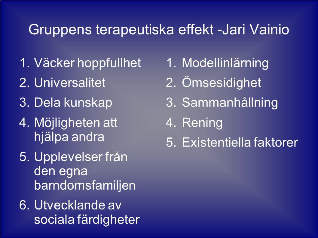 Gruppens terapeutiska effekt -Jari Vainio
