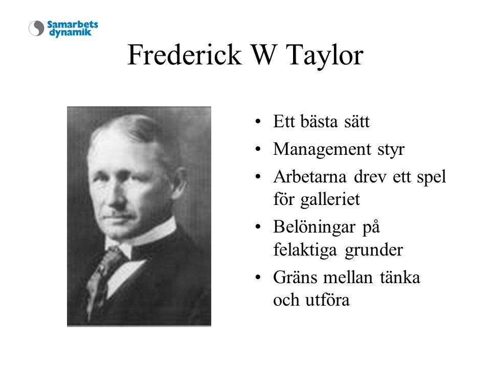 Frederick W Taylor Ett bästa sätt Management styr