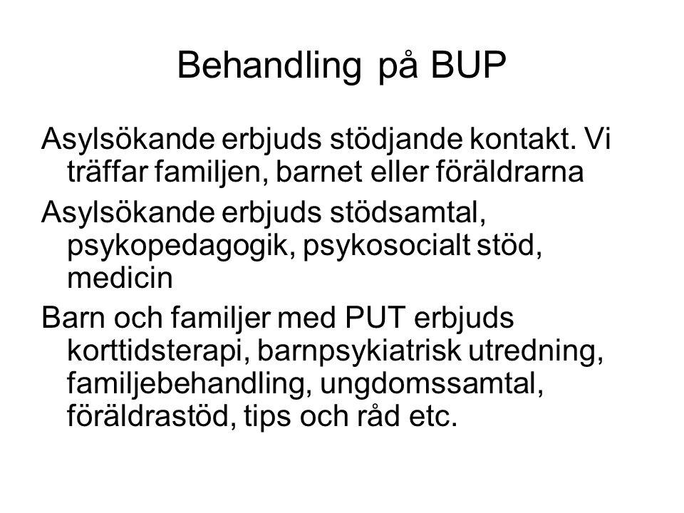 Behandling på BUP Asylsökande erbjuds stödjande kontakt. Vi träffar familjen, barnet eller föräldrarna.