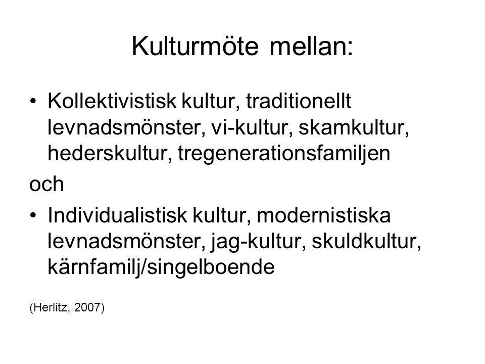 Kulturmöte mellan: Kollektivistisk kultur, traditionellt levnadsmönster, vi-kultur, skamkultur, hederskultur, tregenerationsfamiljen.