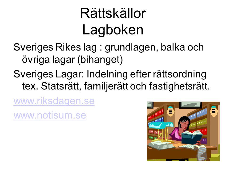 Rättskällor Lagboken Sveriges Rikes lag : grundlagen, balka och övriga lagar (bihanget)