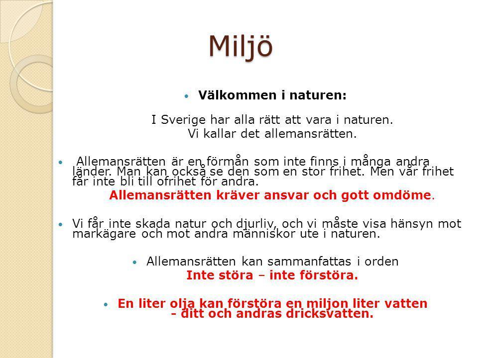 Miljö Välkommen i naturen: I Sverige har alla rätt att vara i naturen.