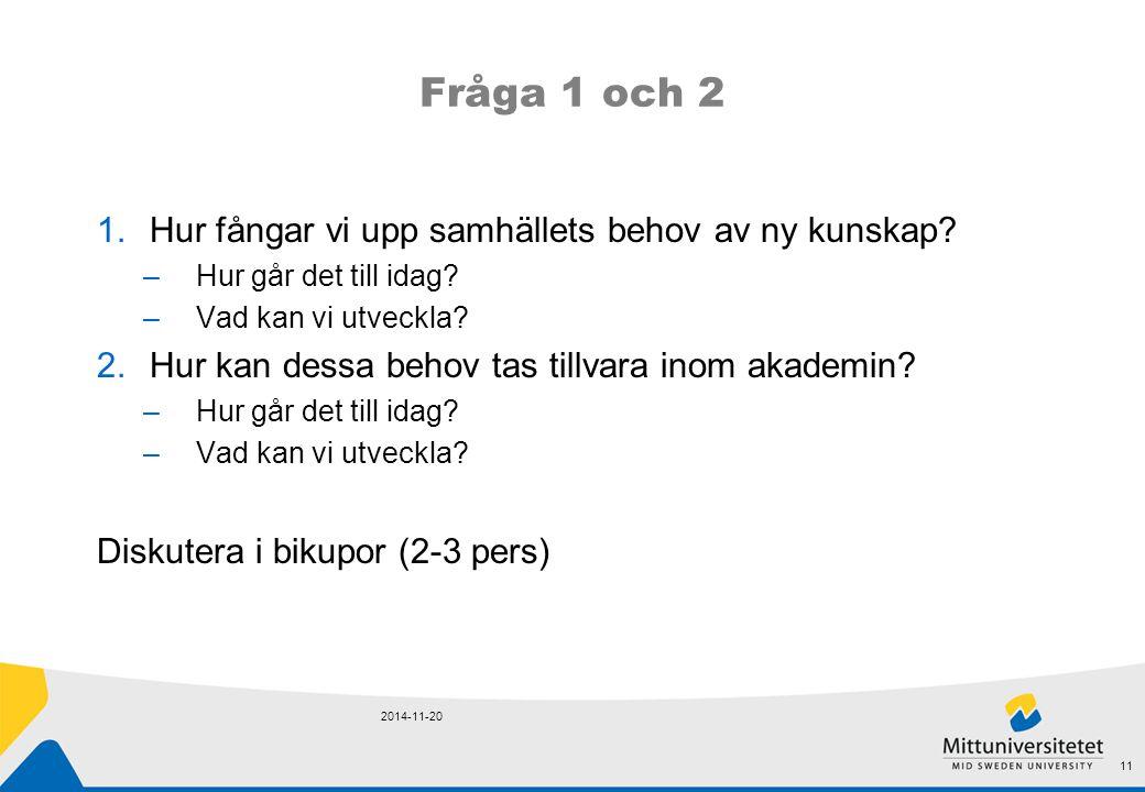 Fråga 1 och 2 Hur fångar vi upp samhällets behov av ny kunskap