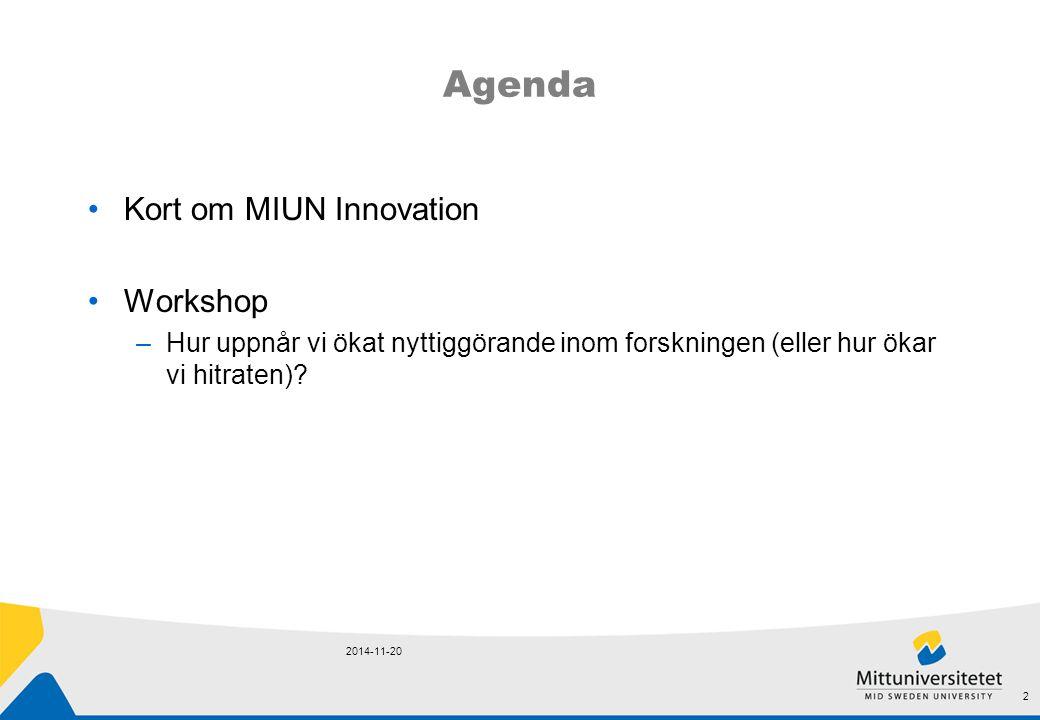 Agenda Kort om MIUN Innovation Workshop