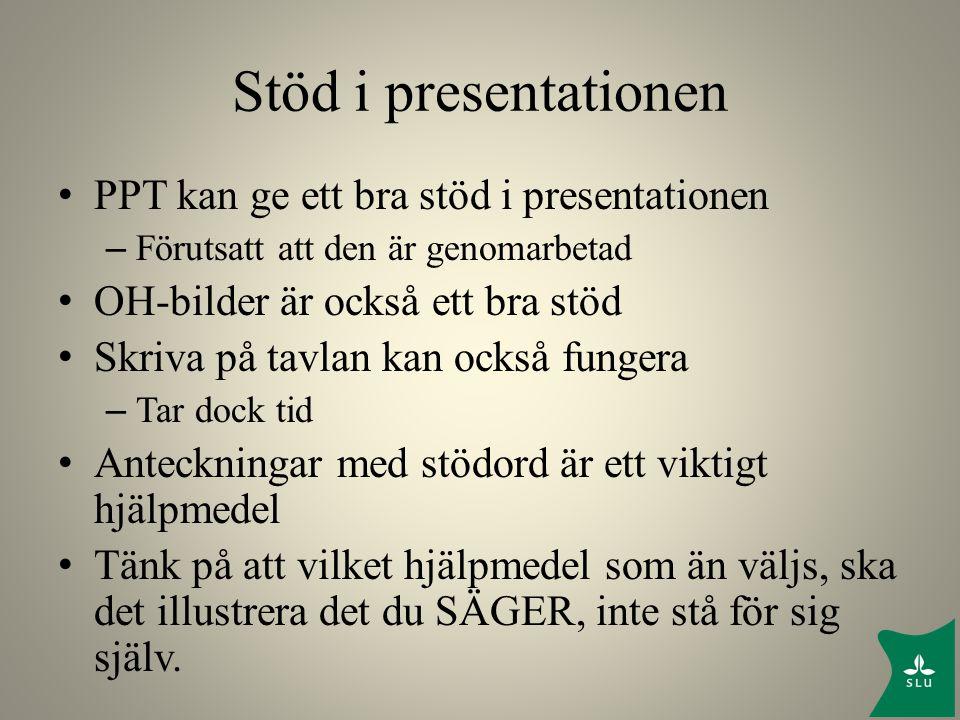 Stöd i presentationen PPT kan ge ett bra stöd i presentationen