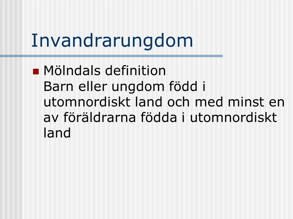 Invandrarungdom Mölndals definition Barn eller ungdom född i utomnordiskt land och med minst en av föräldrarna födda i utomnordiskt land.