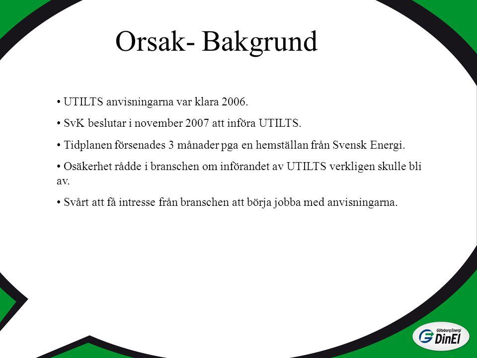 Orsak- Bakgrund UTILTS anvisningarna var klara 2006.