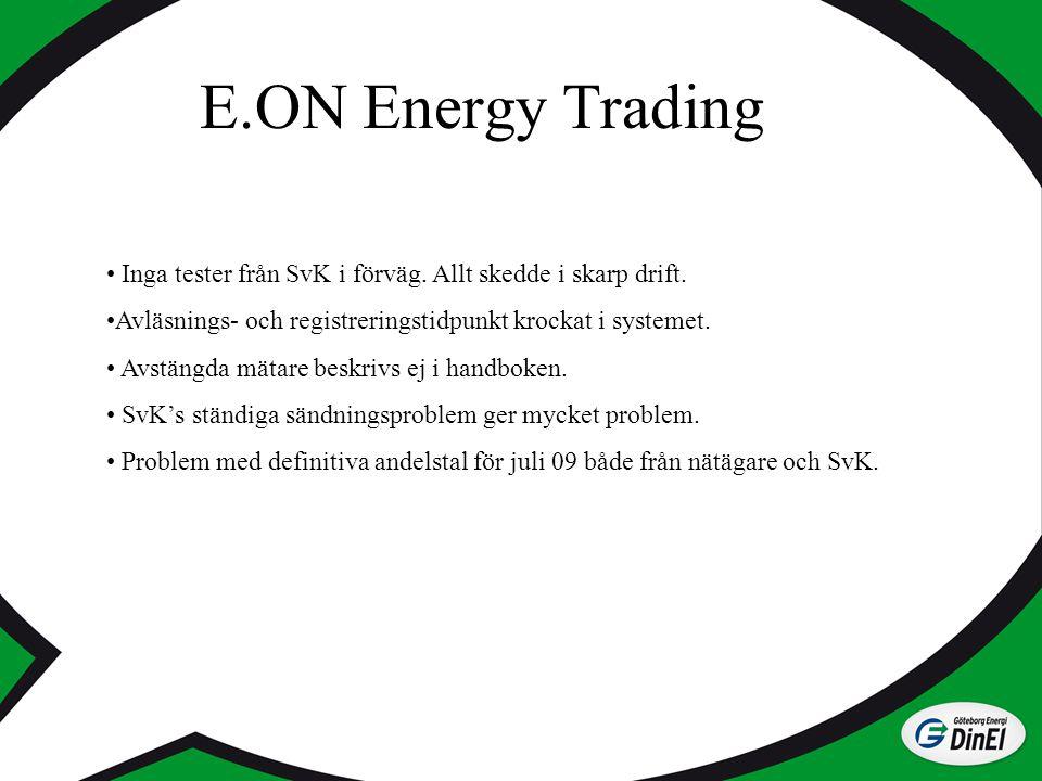 E.ON Energy Trading Inga tester från SvK i förväg. Allt skedde i skarp drift. Avläsnings- och registreringstidpunkt krockat i systemet.