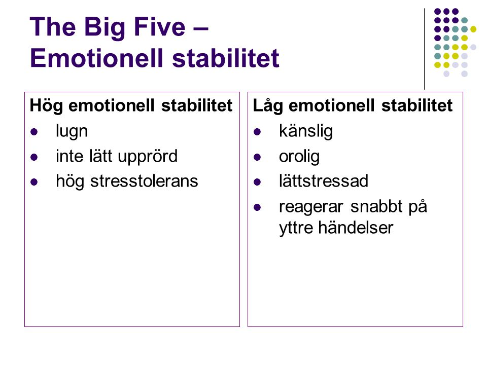 The Big Five – Emotionell stabilitet