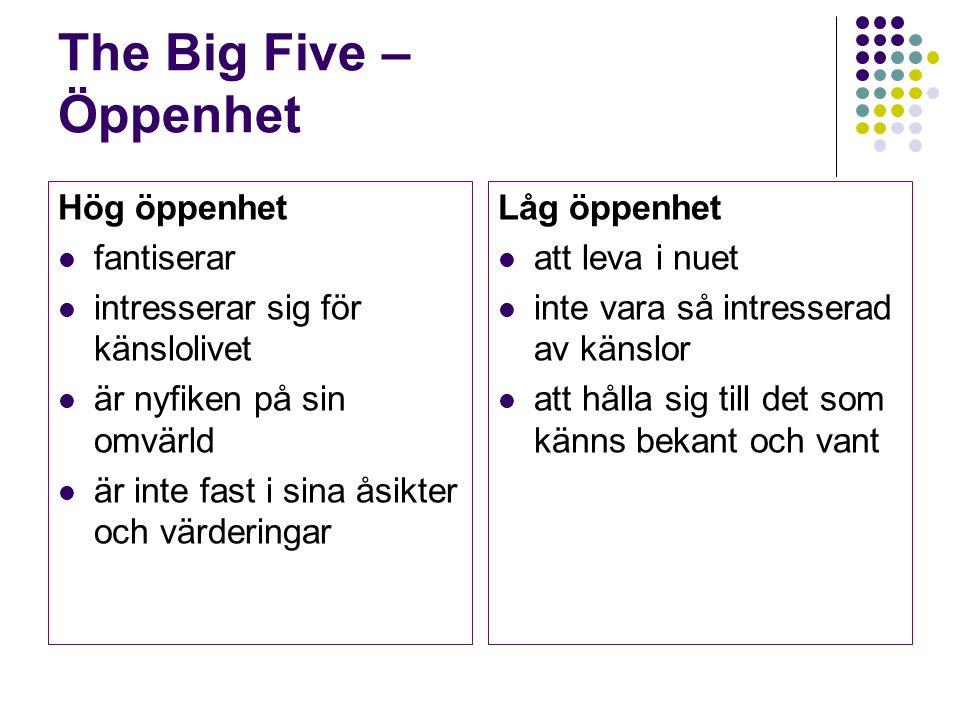 The Big Five – Öppenhet Hög öppenhet fantiserar