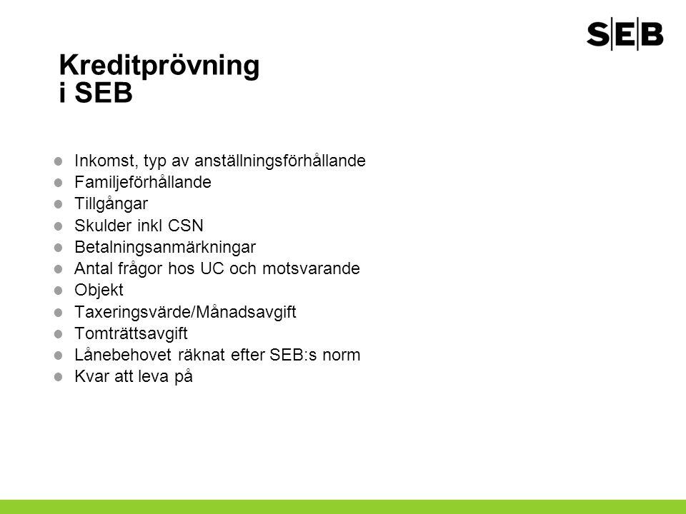Kreditprövning i SEB Inkomst, typ av anställningsförhållande