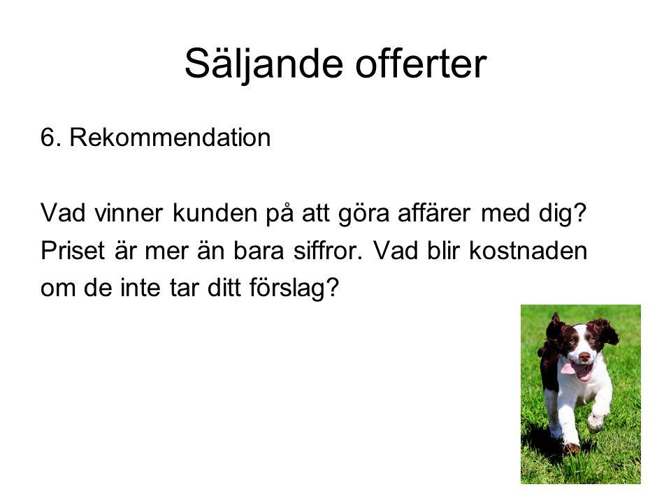 Säljande offerter 6. Rekommendation