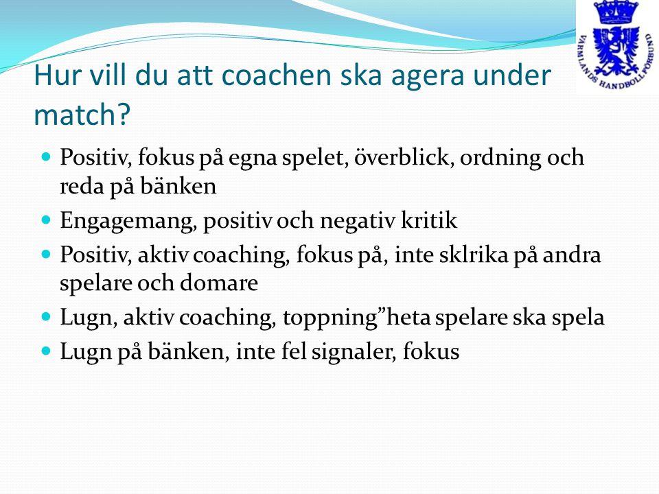 Hur vill du att coachen ska agera under match
