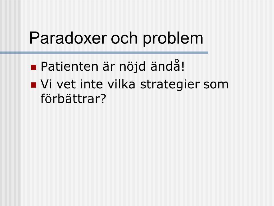 Paradoxer och problem Patienten är nöjd ändå!