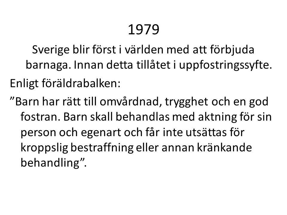 1979 Sverige blir först i världen med att förbjuda barnaga. Innan detta tillåtet i uppfostringssyfte.