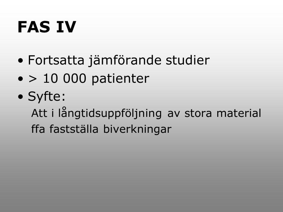 FAS IV Fortsatta jämförande studier > 10 000 patienter Syfte: