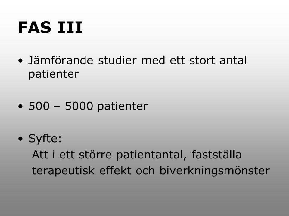 FAS III Jämförande studier med ett stort antal patienter
