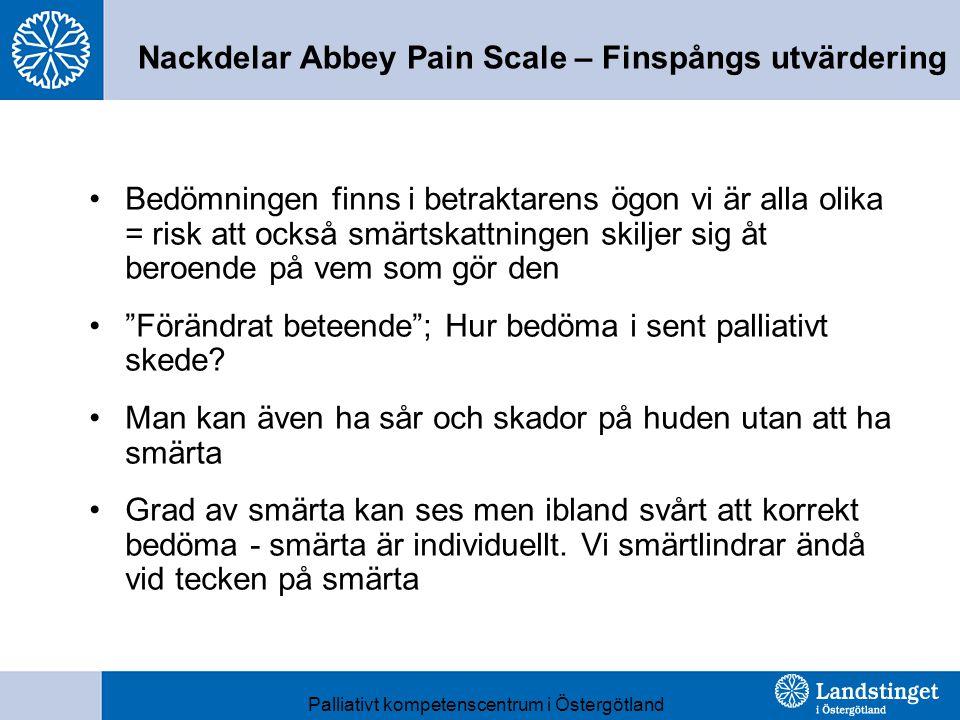 Nackdelar Abbey Pain Scale – Finspångs utvärdering