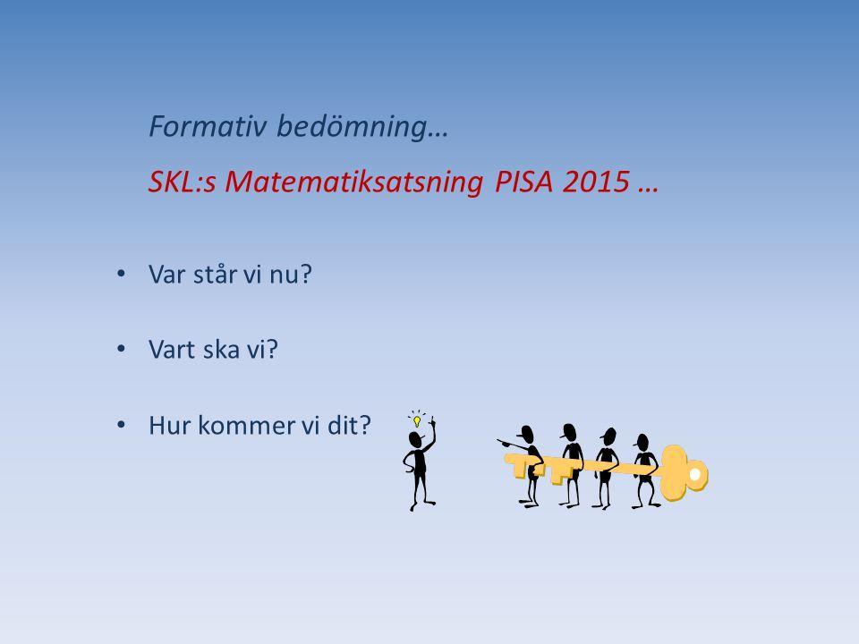 Formativ bedömning… SKL:s Matematiksatsning PISA 2015 …