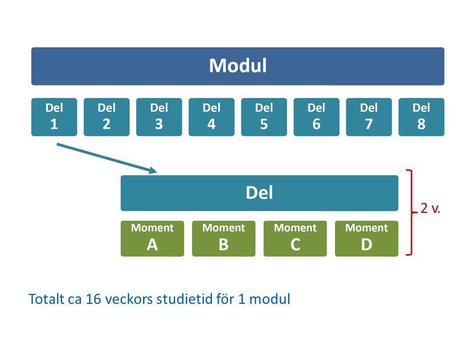 2 v. Totalt ca 16 veckors studietid för 1 modul