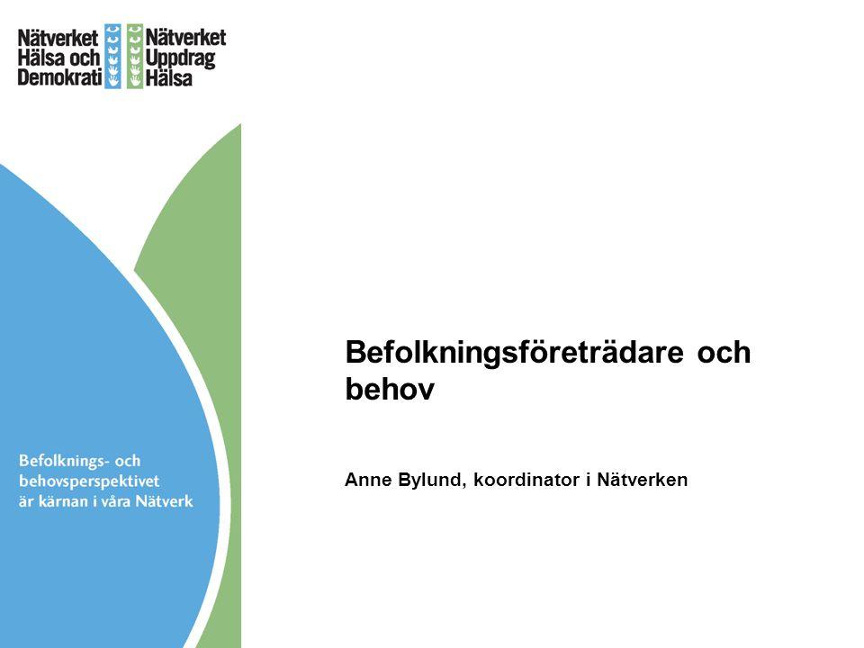 Befolkningsföreträdare och behov Anne Bylund, koordinator i Nätverken