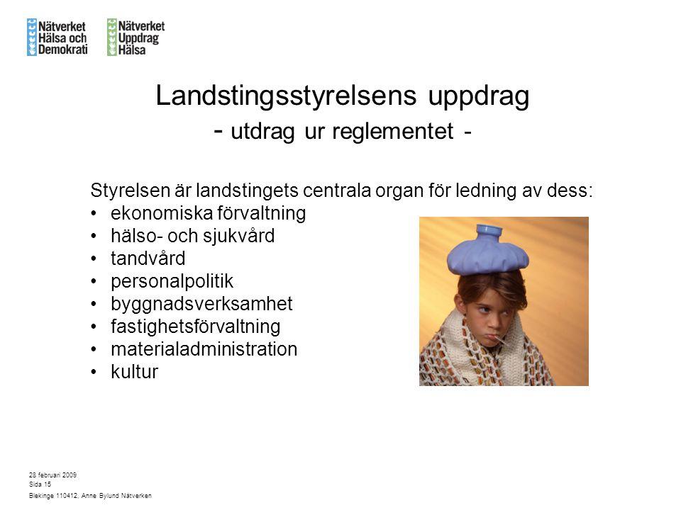 Landstingsstyrelsens uppdrag - utdrag ur reglementet -