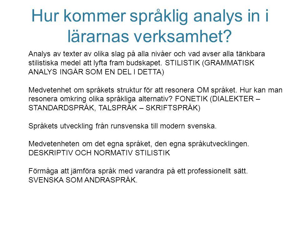 Hur kommer språklig analys in i lärarnas verksamhet