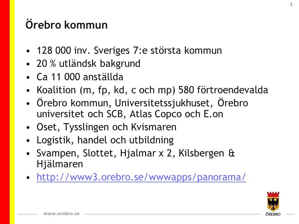 Örebro kommun 128 000 inv. Sveriges 7:e största kommun