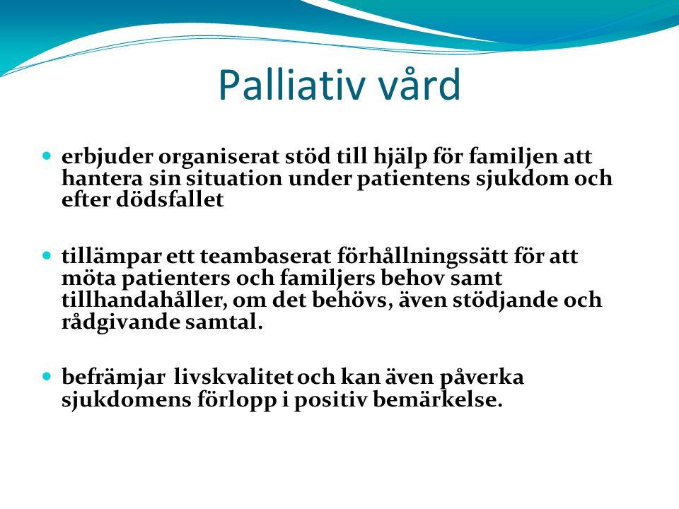 3030 Palliativ vård. erbjuder organiserat stöd till hjälp för familjen att hantera sin situation under patientens sjukdom och efter dödsfallet.