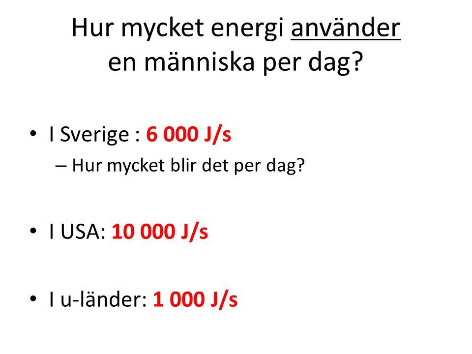 Hur mycket energi använder en människa per dag