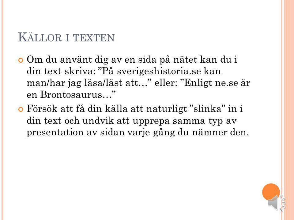 Källor i texten
