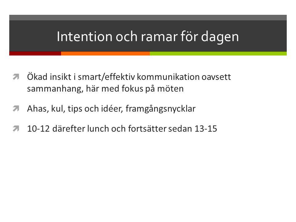 Intention och ramar för dagen