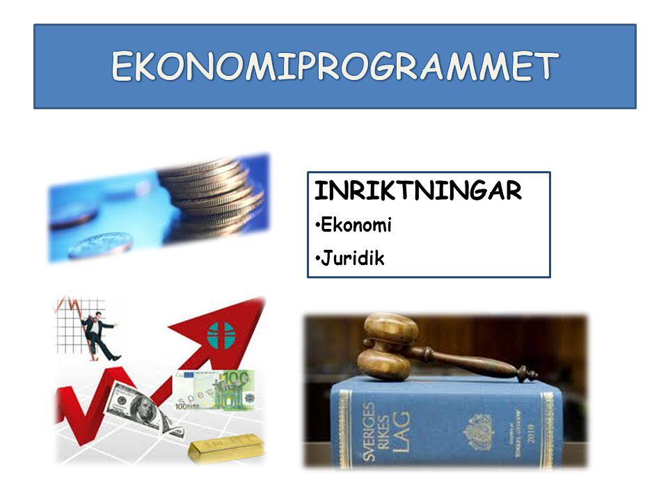 EKONOMIPROGRAMMET INRIKTNINGAR Ekonomi Juridik