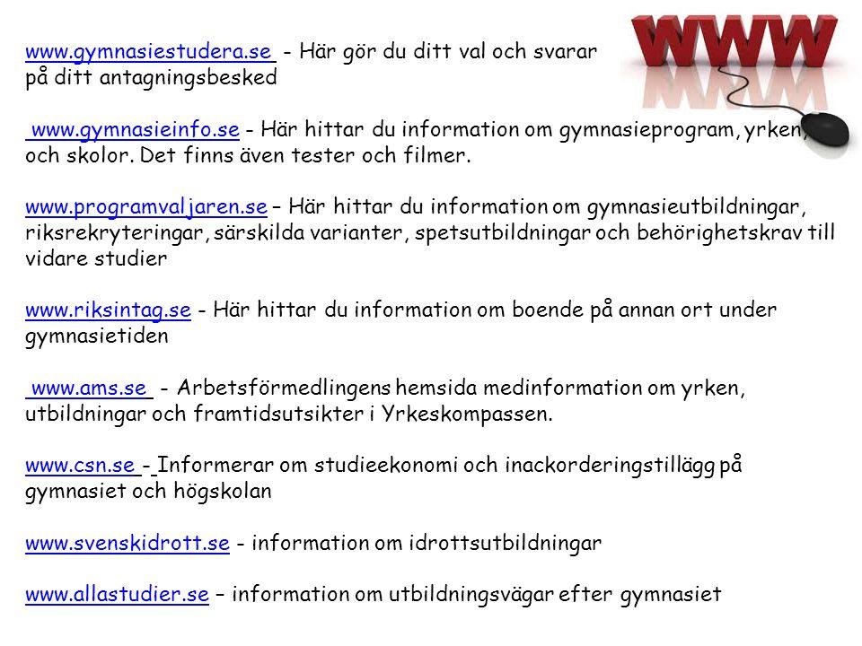 www.gymnasiestudera.se - Här gör du ditt val och svarar