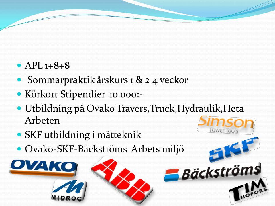 APL 1+8+8 Sommarpraktik årskurs 1 & 2 4 veckor. Körkort Stipendier 10 000:- Utbildning på Ovako Travers,Truck,Hydraulik,Heta Arbeten.